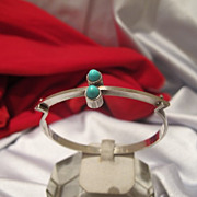 Finnish silver bracelet with two Turquoise cabochons by Kupittaan Kulta, dated at about 1960