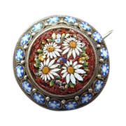 Antique Micro Mosaic and silver brooch,19th century