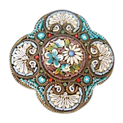 Antique Micro Mosaic brooch depicting flowers and ornaments,19th century
