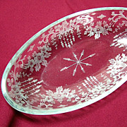 SALE Hawkes Engraved Glass bowl