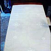 Handmade Ecru Hand Loomed Embroidery Cotton Linen Oblong Tablecloth Snowflake 61&quot; x 80&quot;