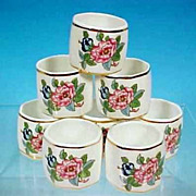 Vintage AYNSLEY Fine Bone China Napkin Rings PEMBROKE Set of 8
