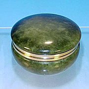 Vintage GENUINE ALABASTER Green Round Lidded Trinket Jewelry Box Hand Carved Made in ITALY