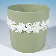 WEDGWOOD Jasperware Sage Green Toothpick Holder