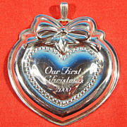 Collectible REED & BARTON Sterling Silver OUR FIRST CHRISTMAS Ornament 2000 (Millennium)