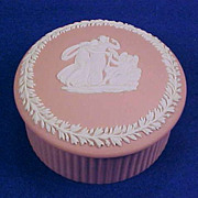 WEDGWOOD Jasperware Pale Pink Round Lidded Trinket Box Ribbed Sides