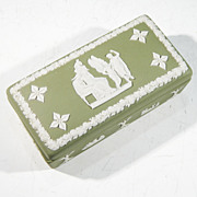 WEDGWOOD Jasperware Sage Green Oblong Lidded Trinket Box CUPIDS