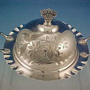 Antique Victorian ACME SILVER Quadruple Silver Plate Floral Covered Butter Dish