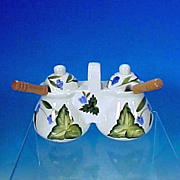 Vintage White China Large Double Jelly Jam Server Set BLUE FLOWERS / LEAVES
