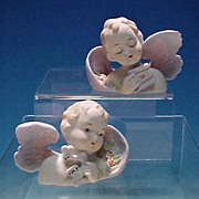 PAIR Vintage LEFTON CHINA Bisque Angel Figurine Bust Pastel Color (c.  1940's - 1950's)