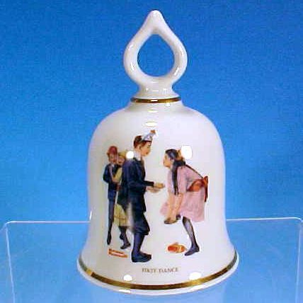 "Collectible 1979 NORMAN ROCKWELL Porcelain China Dinner Bell ""The Wonderful World of Norman Rockwell"" FIRST DANCE - The Danbury Mint"