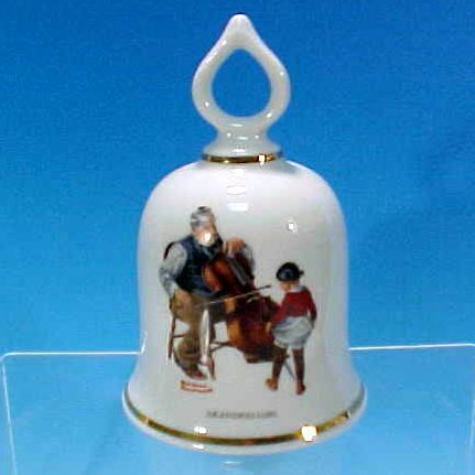 "Collectible 1979 NORMAN ROCKWELL Porcelain China Dinner Bell ""The Wonderful World of Norman Rockwell"" GRANDPA'S GIRL - The Danbury Mint"