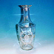 Vintage GLASS Brandy Shape Decanter Bottle ETCHED ROSES & WREATH - Cork Finish