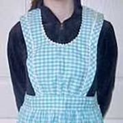 Vintage Blue & White CHECK GINGHAM Full Bib Apron Two Pockets
