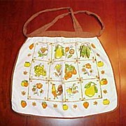 Vintage Terry Cloth KITCHEN DISH TOWEL APRON Flowers, Fruits & Rooster