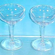 "Vintage Pair Clear Hand Blown Crystal Glass CHAMPAGNE or SHERBETS 4"" Tall"