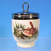 ROYAL WORCESTER Porcelain Egg Coddle Coddler BIRDS King Size / Black Backstamp