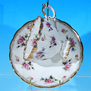Vintage FRED ROBERTS COMPANY China Teacup & Saucer Set - Japan - Pink Roses