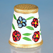 Vintage Hand-Painted Floral ENAMEL & GOLD Thimble
