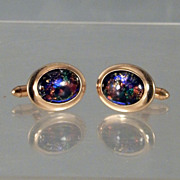Pair Vintage QUALITY CORRECT Oval Cuff Links Cufflinks with Dichroic Glass Cabochons Gold Beze