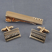 Vintage 1950's Cufflinks & Tie Bar Clasp Set - Gold Tone Waves & Beads