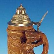 Vintage E & R / EBERLING & REUSS Golden Crown Figural Fox Beer Stein / Die gr�ne Heid Des ...