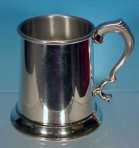 BOARDMAN PEWTER Beer Mug Tankard 14 oz. Clear Bottom Mug