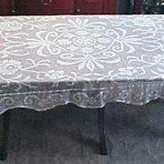 Vintage Rectangle CROCHET LACE TABLECLOTH 60&quot; x 77&quot; Floral Scallop Edge