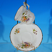 Vintage COALPORT Porcelain Teacup Tea Cup & Saucer Set WENLOCK FRUIT - Boxed & Discontinued