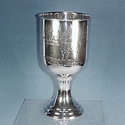 Vintage Silverplate Large CHALICE / VASE with Engraved Deer Scene