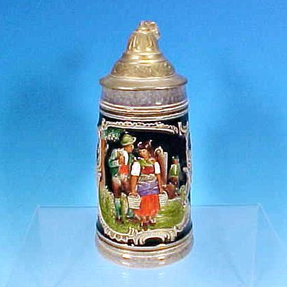 Vintage THEWALT Lidded German Beer Stein Cobalt Blue Salt Glaze Tyrolean Couple 1/4L