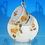 Vintage REGENCY Bone China Footed Tea Cup (teacup) & Saucer Set Golden Yellow Roses