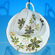 Vintage ROYAL ALBERT Tea Cup (Teacup) & Saucer Set Green & Tan Leaves Golden Seed Puffs