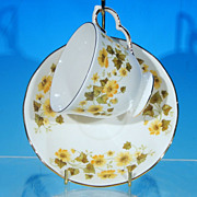 Vintage QUEEN ANNE Bone China Footed Tea Cup (teacup) & Saucer Set Yellow Flowers #8643