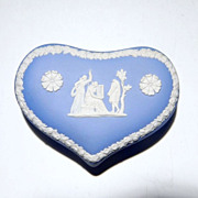 Wedgwood Jasperware Large Heart Box Pale Blue The Three Graces (c. 1971)