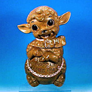 Vintage Figural LAMB Cookie Jar - &quot;FOR GOOD LITTLE LAMBS ONLY&quot; California Pottery / 