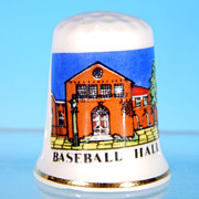 Vintage EXQUISITE Fine Bone China Thimble Baseball Hall of Fame