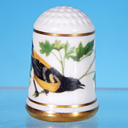 Limited Edition Porcelain Thimble BALTIMORE ORIOLE / Franklin Porcelain / GARDEN BIRDS / Peter