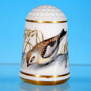 Limited Edition Porcelain Thimble SNOW BUNTING / Franklin Porcelain / GARDEN BIRDS / Peter ...