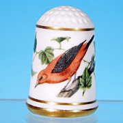 Limited Edition Porcelain Thimble SCARLET TANAGER / Franklin Porcelain / GARDEN BIRDS / Peter 