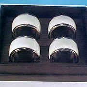Saks Fifth Avenue Porcelain China & Silverplate Napkin Rings Set of Four (4) BOXED
