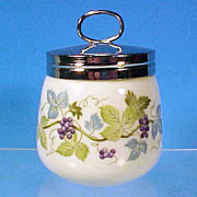 Vintage Fine Porcelain China DOUBLE Egg Coddle Egg Coddler Grape Pattern JAPAN