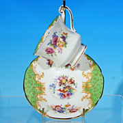 Vintage PARAGON China Demitasse Teacup (Tea Cup) & Saucer Set, England, ROCKINGHAM Green c. 19