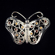 Rhodium Silver & Color Rhinestone Filigree FIGURAL BUTTERFLY Brooch Pin