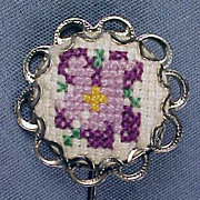 Vintage Silver & Needlepoint Petit Point STICK PIN / STICKPIN - Purple Pansy