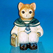 "Vintage 1980's Sailor ""WILBUR THE CAT"" Animal Character Cookie Jar by Baker, Hart &"