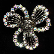 Vintage Black & Colored CRYSTAL RHINESTONE Filigree Brooch Pin Necklace