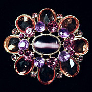 Vintage Oval Crystal Brooch Pin Gold Tone / Purple, Pink & Peach