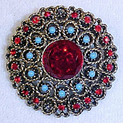 Vintage Round RUBY & TURQUOISE Combination Brooch Pin Scarf /Sash Pin FILAGREE