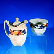 Vintage RIDGEWAYS BEDFORD WARE Lidded Creamer & Open Sugar Bowl Hand Painted DOROTHY #6595